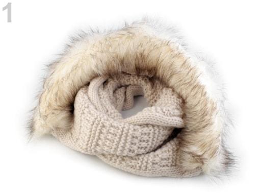 Stoklasa Pletený nákrčník s kapucí a kožešinou - 1 béžovobílá