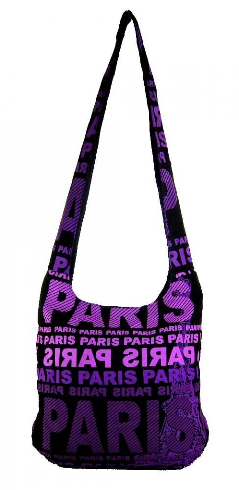 ... Moderní látková crossbody taška PARIS s fialovým potiskem 59bd43e97a1
