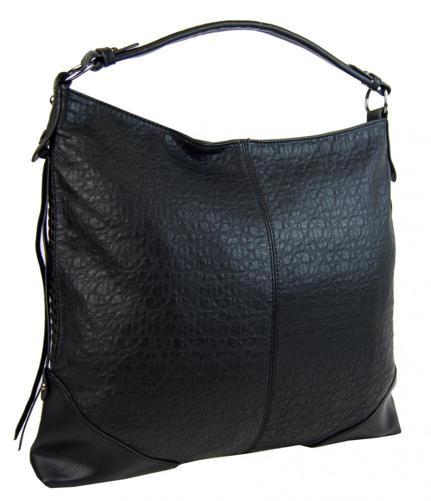 Černá dámská kabelka na rameno v jemném kroko designu 2456-BB ... 03ccf7a243c