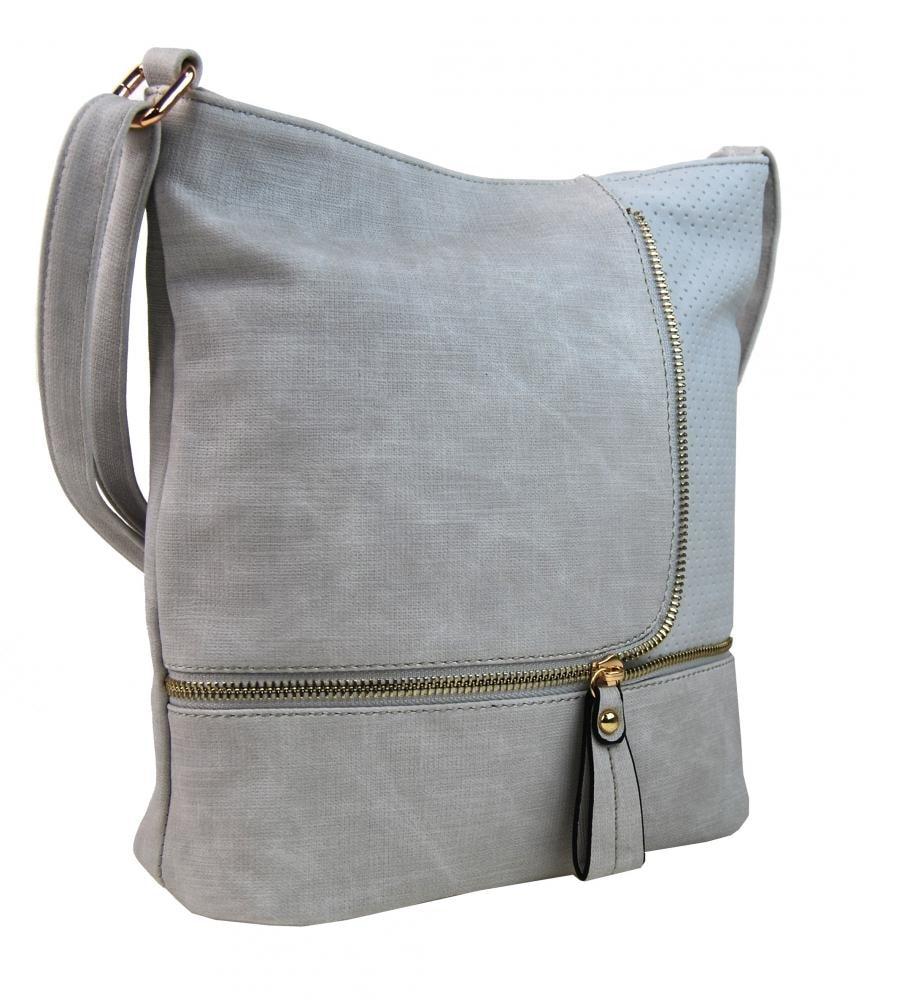 ... Módní crossbody kabelka se zlatými doplňky F1379 světle šedá ... 6cbb994c968