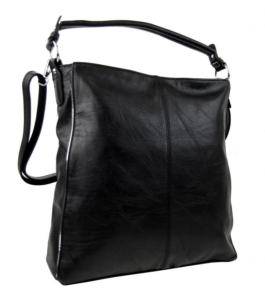 Moderní černá dámská kombinovaná kabelka se stříbrnou linkou 3067-DE ... c897c4de52d