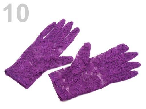 Stoklasa Společenské rukavice 21 cm krajkové - 10 fialová purpura