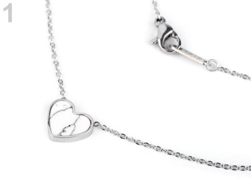 Stoklasa Náhrdelník srdce z nerezové oceli - 1 bílá