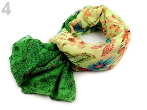 Stoklasa Šátek s potiskem 100x180 cm - 4 zelená khaki sv.