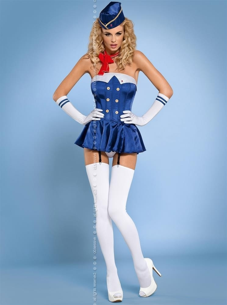 Obsessive Sexy kostým Stewardess corset - modrá - S/M