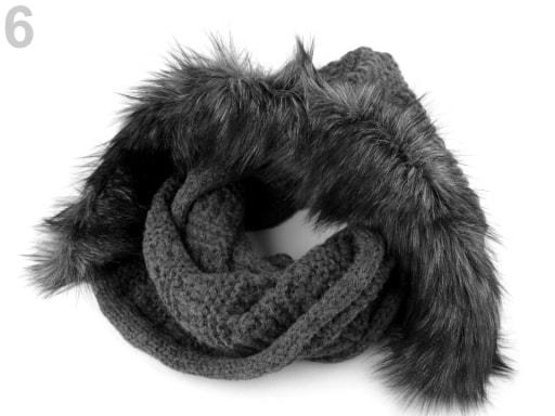 Stoklasa Pletený nákrčník s kapucí a kožešinou - 6 šedá