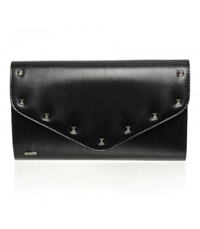 Černá matná společenská listová kabelka s vybíjením SP102 07e93f24195