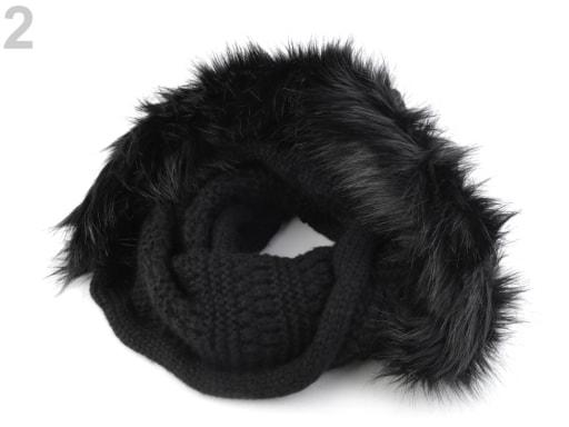 Stoklasa Pletený nákrčník s kapucí a kožešinou - 2 černá