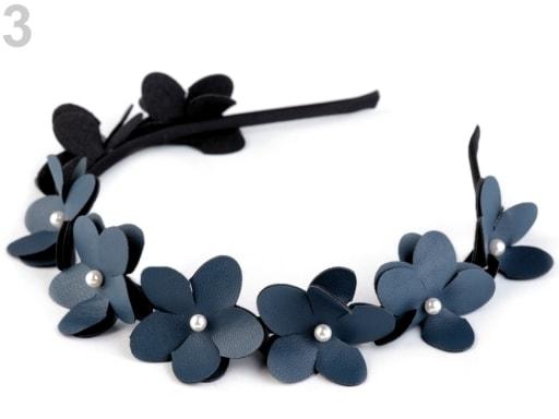 Stoklasa Čelenka s květy a perlami - 3 modrá hydro