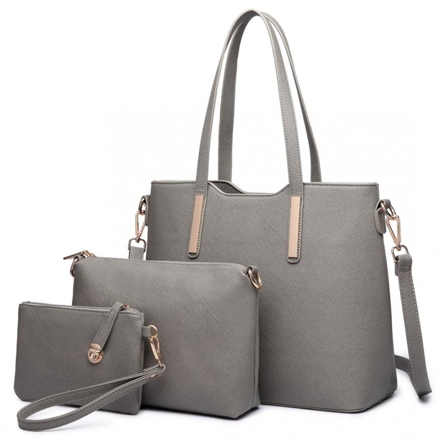 Praktický dámský kabelkový set 3v1 Miss Lulu šedá - Lulu Bags ... fa6ae528575