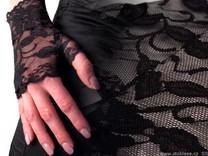 Společenské rukavice 14 cm krajkové bez prstů