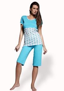 Dámské pyžamo s capri kalhotami Grochy