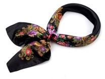 Saténový šátek 57x57 cm s květinovým potiskem