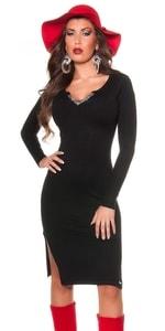 Elegantní šaty z úpletu in-sat1039bl