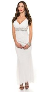 Bílé dlouhé večerní šaty in-sat1208wh