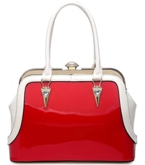 Červeno-bílá lakovaná kabelka L970