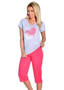 Dámské pyžamo s capri kalhotami s obrázkem srdce