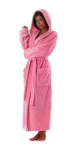 Růžový župan s kapucí Siena 31 56 3151