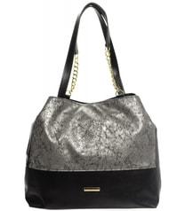 Stříbrno-černá patinovaná kabelka s řetízky S611