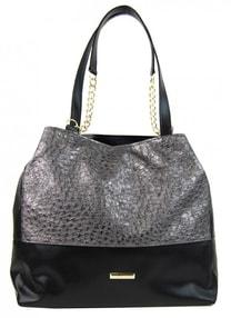 Stříbrno-černá kabelka s řetízky S611