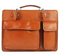 Moderní koňakově hnědá pánská aktovková taška z pravé italské kůže DIVA