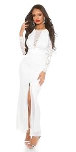Dámské bílé dlouhé šaty in-sat1421wh