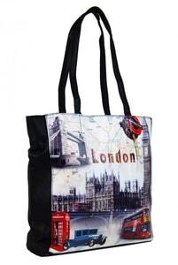 Dámská kabelka na rameno s motivem Londýna 60694 černá