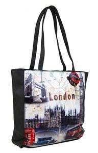 Dámská kabelka na rameno s motivem Londýna 60694 tmavě šedá