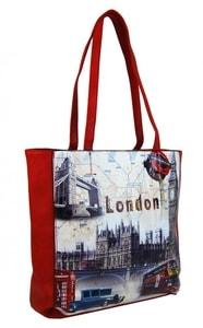 Dámská kabelka na rameno s motivem Londýna 60694 červená