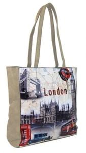 Dámská kabelka na rameno s motivem Londýna 60694 béžová