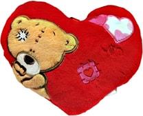 PLYŠ Srdíčko Valentýn s medvídkem záplata 15cm