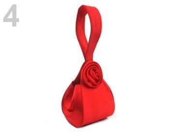Stoklasa Kabelka saténová 13x17cm s růží POMPADOUR - 4 červená