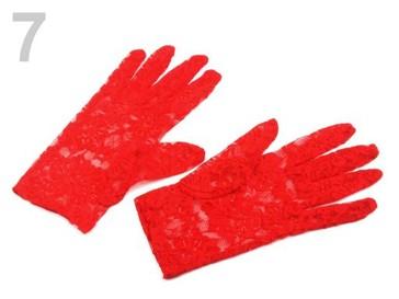 Stoklasa Společenské rukavice 21 cm krajkové - 7 červená