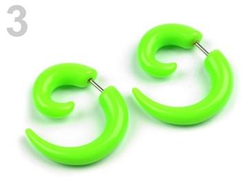 Stoklasa Náušnice falešný roztahovák - 3 zelená neon