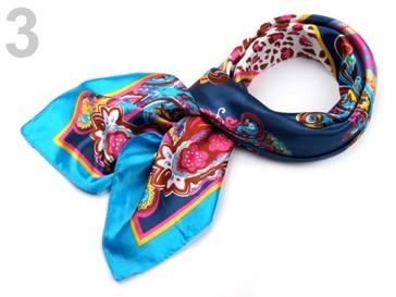 Stoklasa Saténový šátek 90x90 cm s potiskem - 3 modrá pařížská