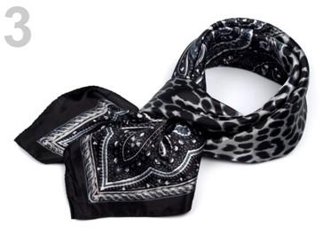 Stoklasa Saténový šátek 90x90 cm s potiskem - 3 černá