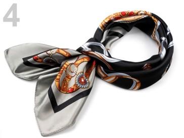 Stoklasa Saténový šátek 90x90 cm s potiskem - 4 černá