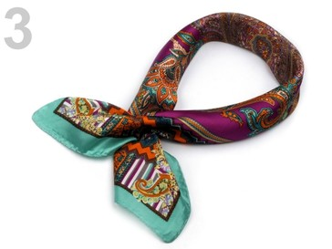 Stoklasa Hedvábný šátek 53x53 cm s potiskem - 3 fialová gerbera