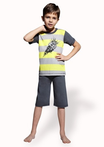 Taro Dětské pyžamo s obrázkem motorky a capri kalhotami - 150/ žlutá - 116