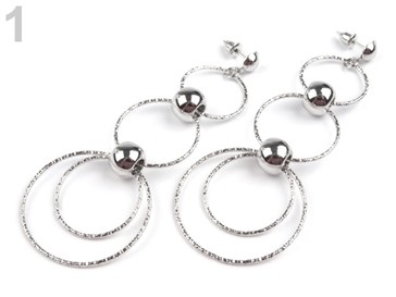Stoklasa Kovové náušnice kruhy s korálky - 1 stříbrná