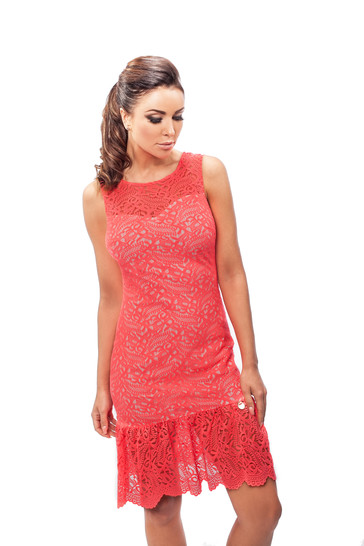 Enny Letní růžové krajkové šaty 190058 - růžová - 40