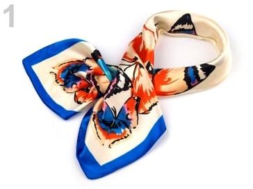 Stoklasa Saténový šátek 58x58 cm motýli - 1 béžová nejsv.