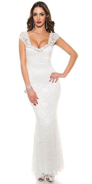Koucla Bílé plesové šaty in-sat1200wh - dle obrázku - M