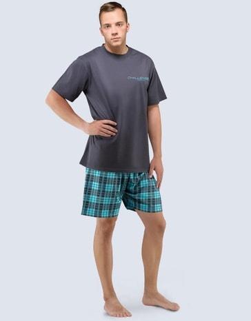 Gina Pánské pyžamo krátké 79036P - tm. šedá tyrkysová - XL