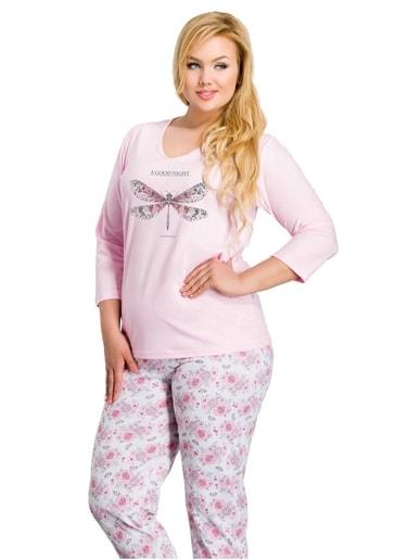 Taro Dámské pyžamo nadměrné velikosti Felicja - 300/ růžová světlá - 2XL