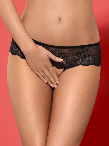 Obsessive Kalhotky Merossa panties otevřené - černá - S/M