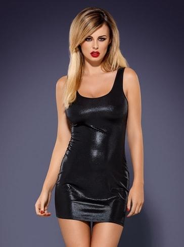 Obsessive Šaty Obsydian wetlook - černá - S/M