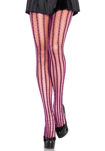 LEG AVENUE Barevné síťované punčochy 9926 XXL - neon.růžová - XXL